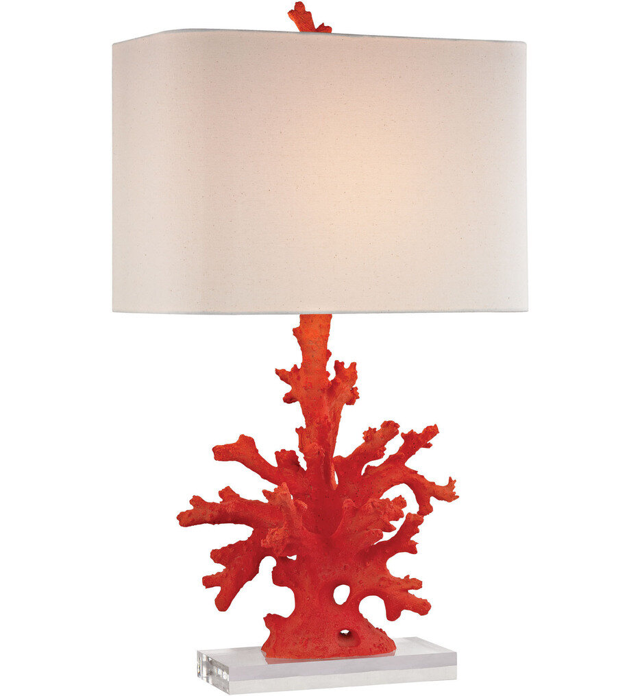 """Red Coral 28"""" Table Lamp"""