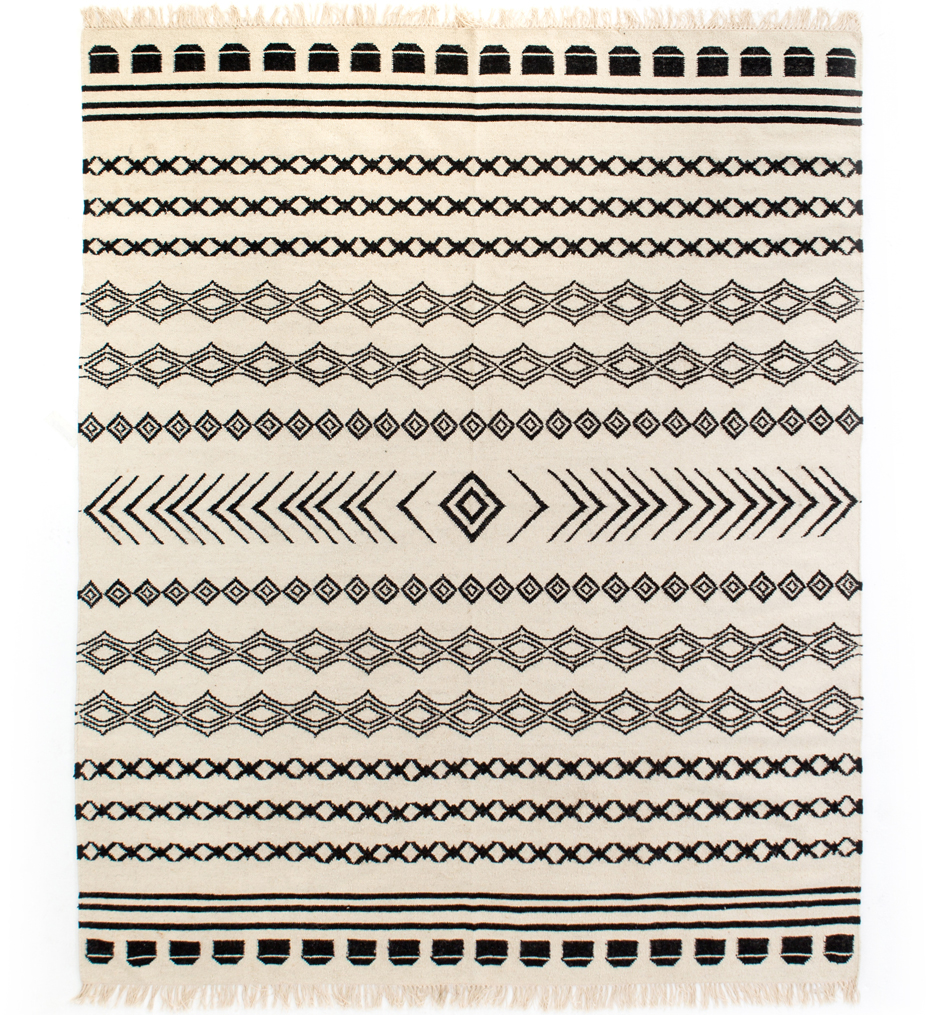 Black Patterned Stripe Rug