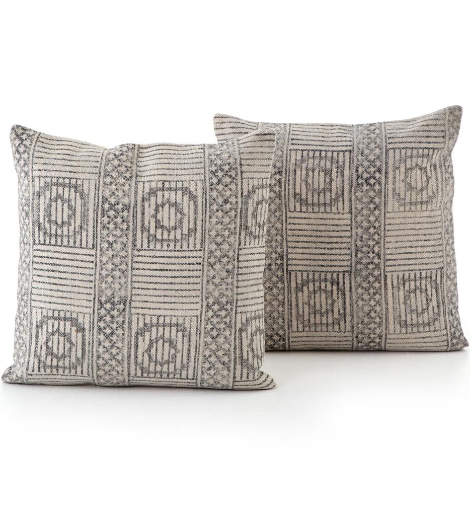 "Faded Block Print 20x24"" Pillow (Set of 2)"