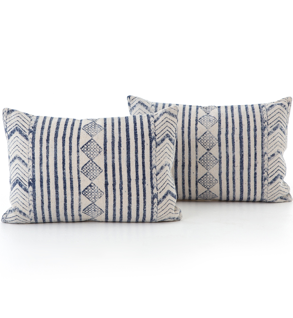 Faded Blue Diamond Pillow (Set of 2)