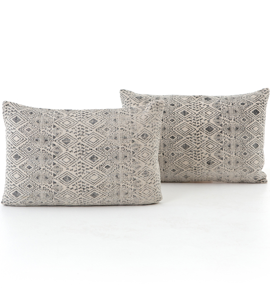"Faded Grey Print 16x24"" Pillow (Set of 2)"