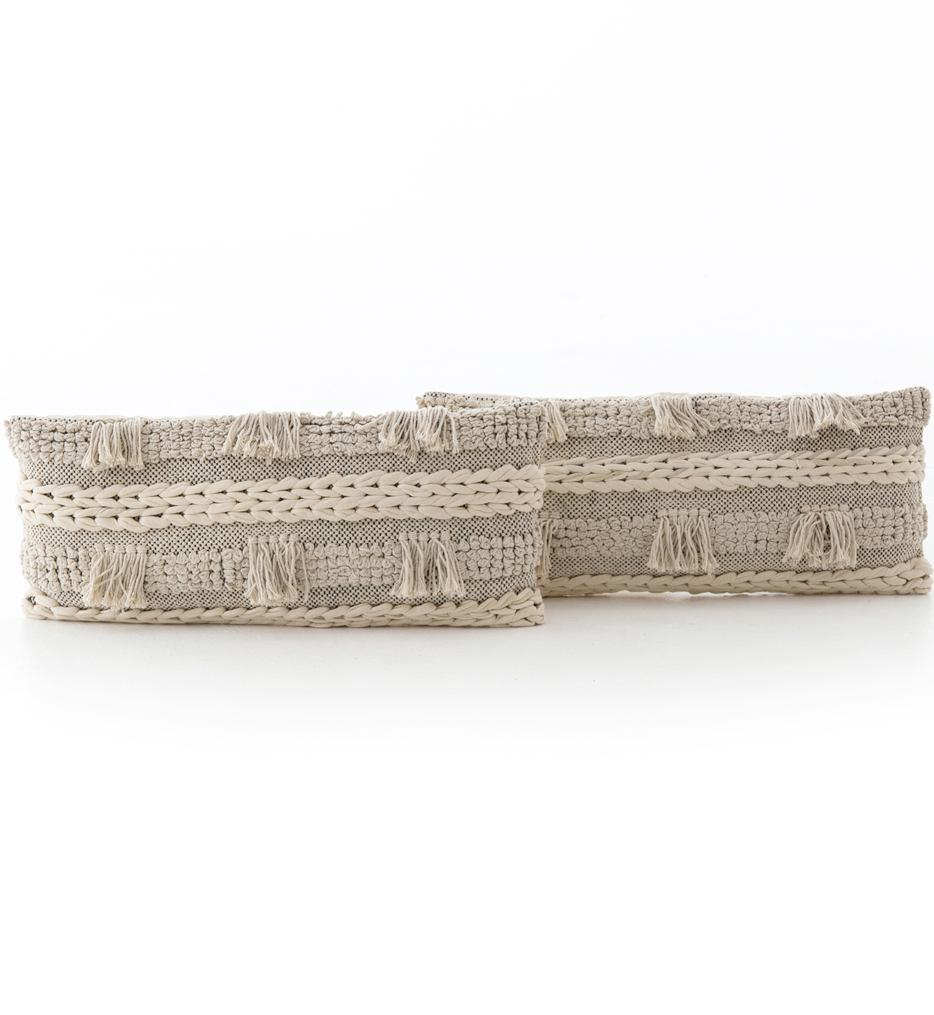 "Braided Fringe 12x28"" Pillow (Set of 2)"