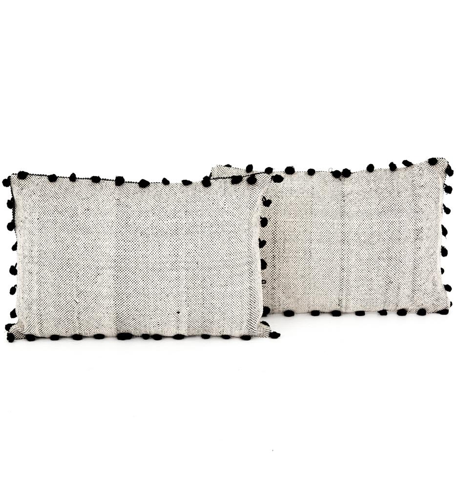 Black Fringe Trim Pillow (Set of 2)