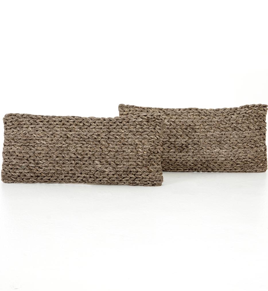 "Stone Braided 12x28"" Pillow (Set of 2)"