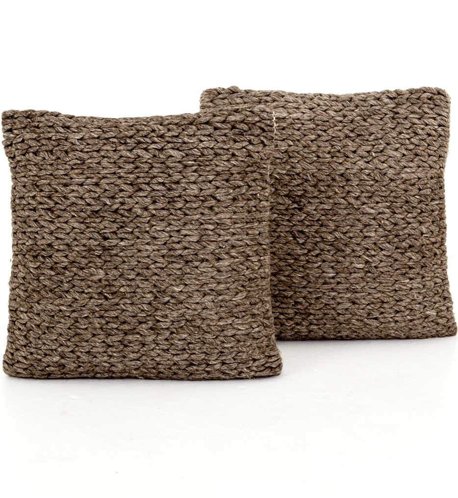 """Stone Braided 20"""" Pillow (Set of 2)"""