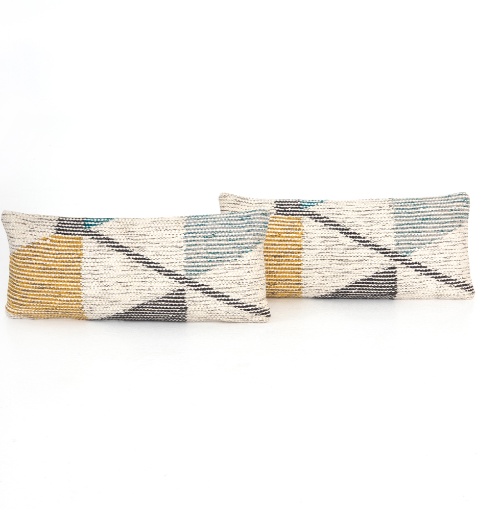 Cream Color Block Pillow (Set of 2)