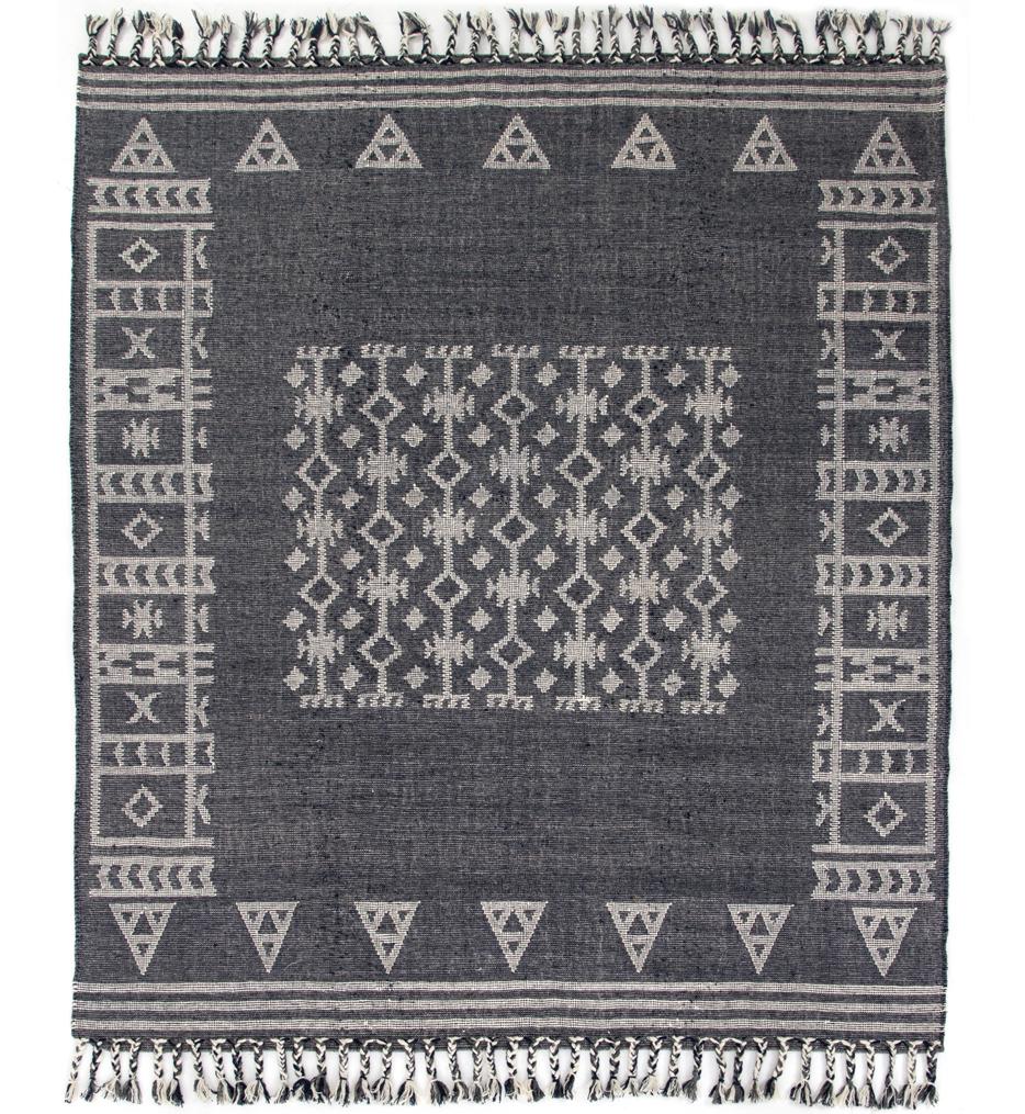 Navy Flatweave Patterned Rug