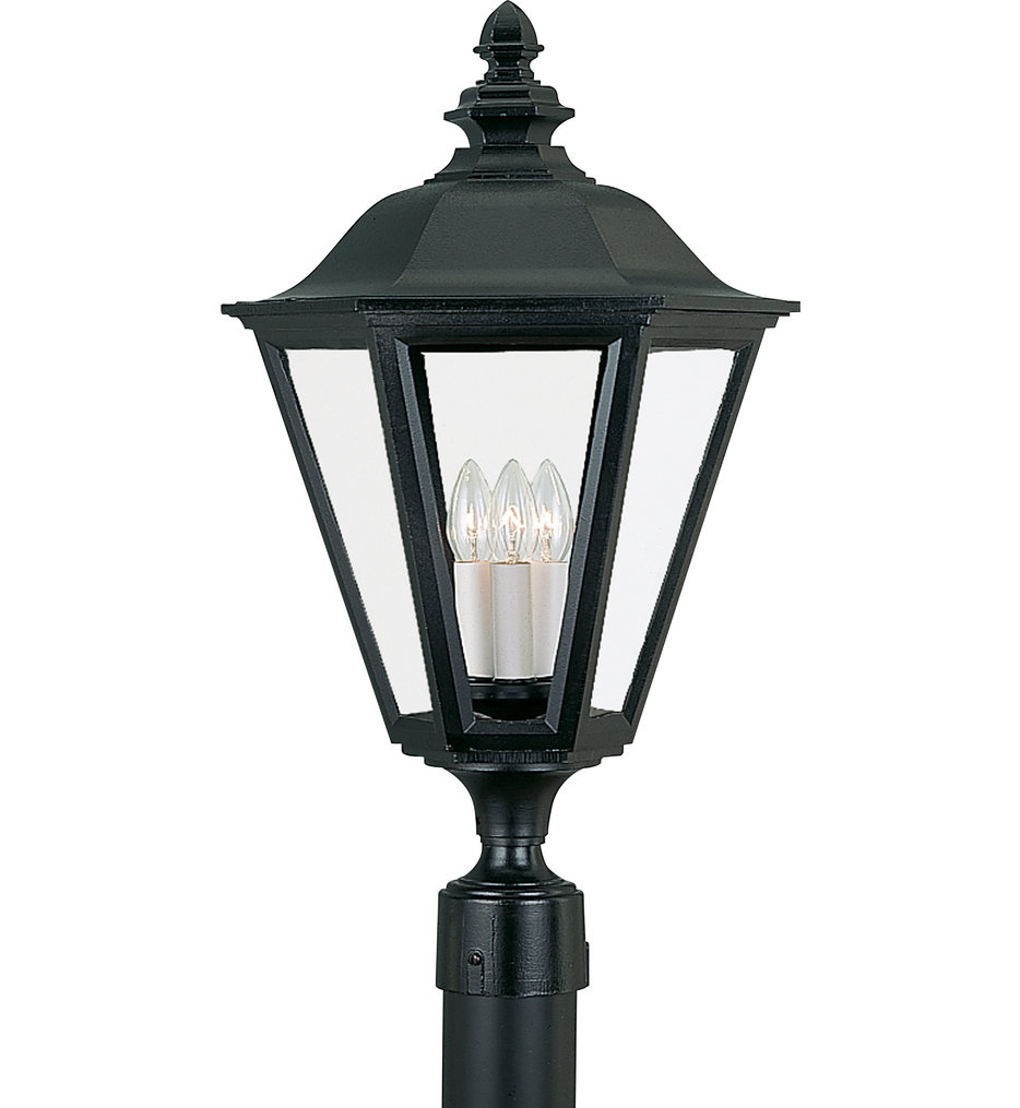 Brentwood Black 3 Light Outdoor Post Lantern