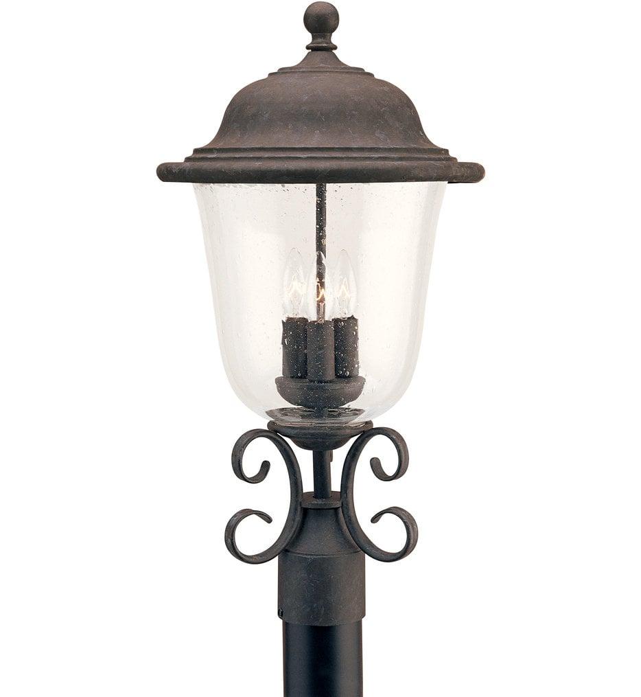 Trafalgar Oxidized Bronze 3 Light Outdoor Post Lantern
