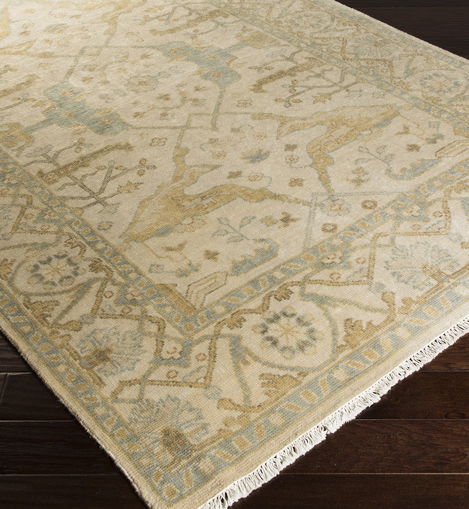 Antique Traditional Moss Hand Knotted Rug