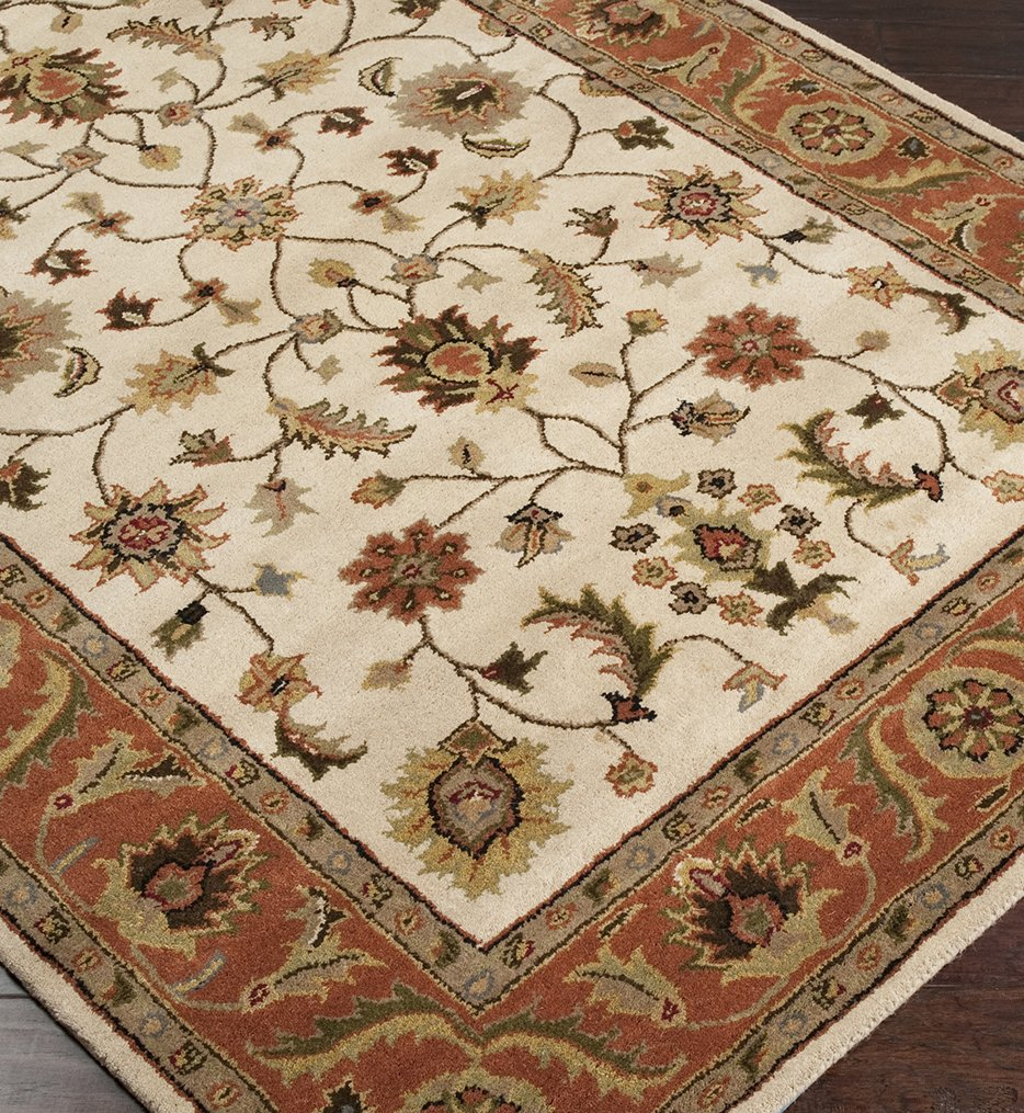 Crowne Traditional Hand Tufted Beige Rug