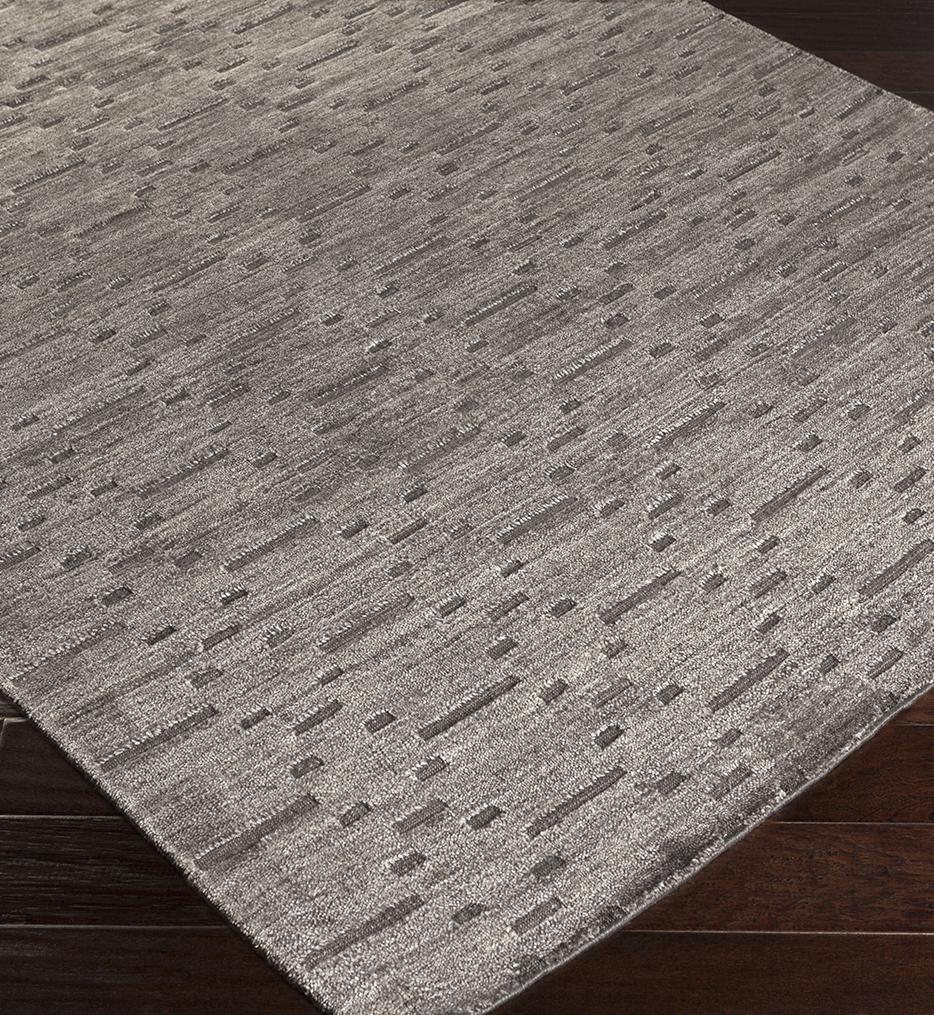 Crystal Solids & Borders Hand Loomed Rug