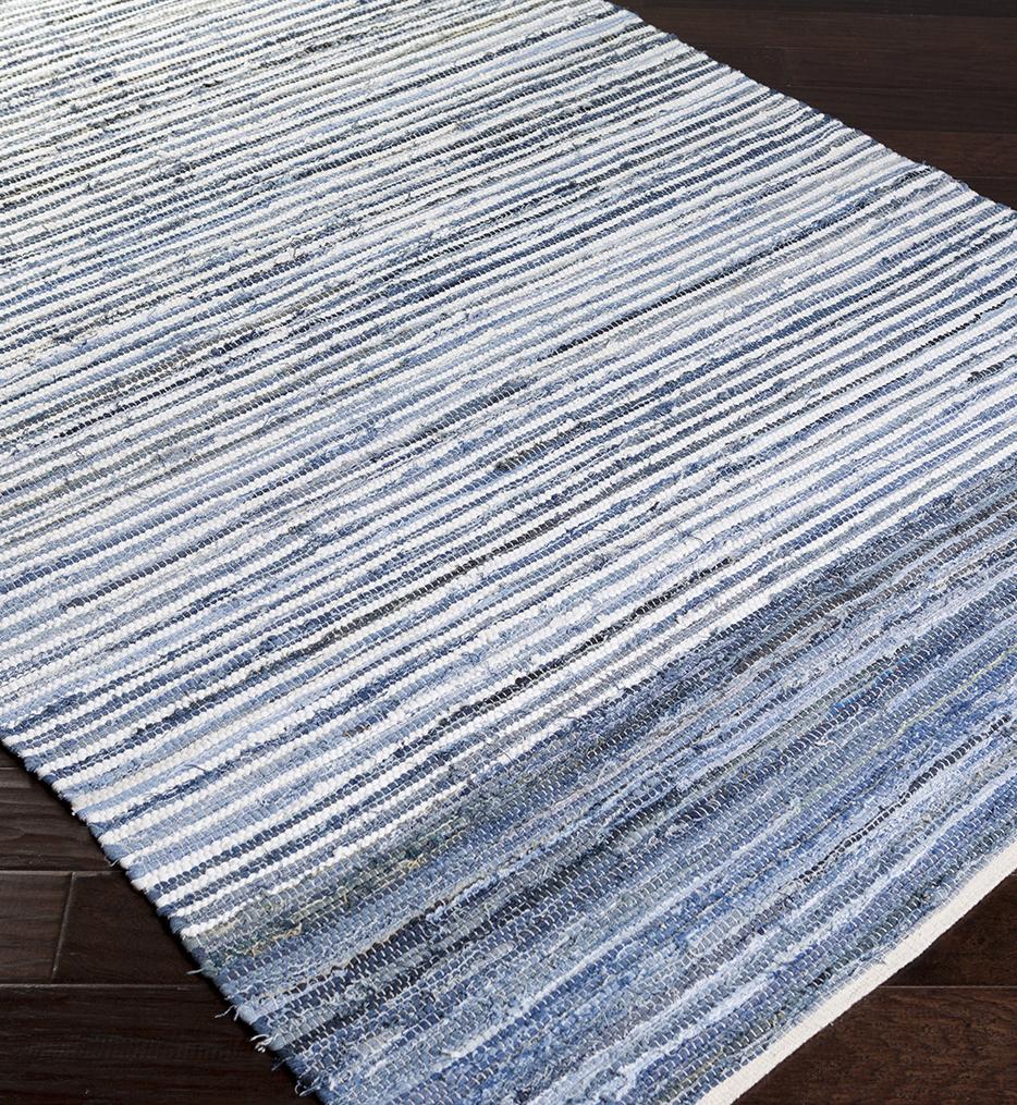 Denim Lines Natural Fiber Textures Hand Loomed Rug
