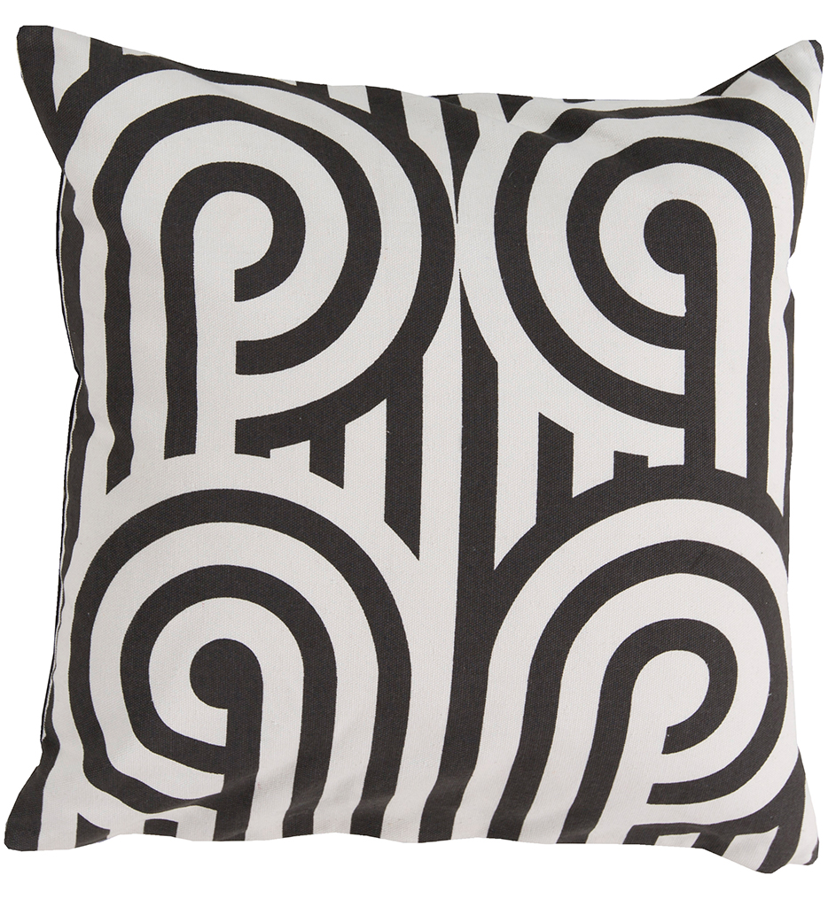 """20"""" Square Black Curved Lines Pillow"""