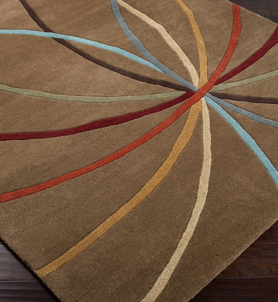 Forum Multi Color Curves Hand Tufted Rug