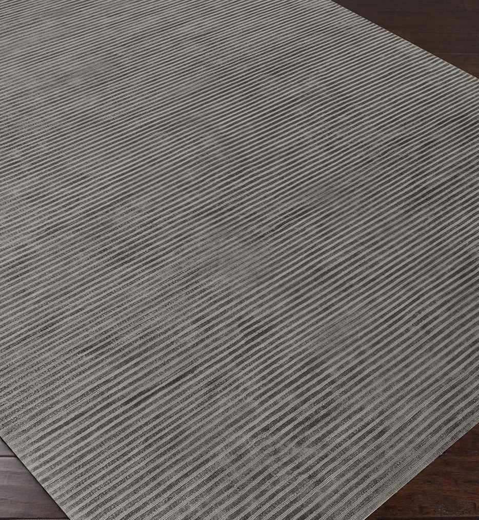 Graphite Solids & Borders Hand Loomed Rug