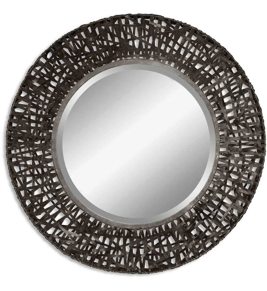 Alita Black Woven Metal Mirror