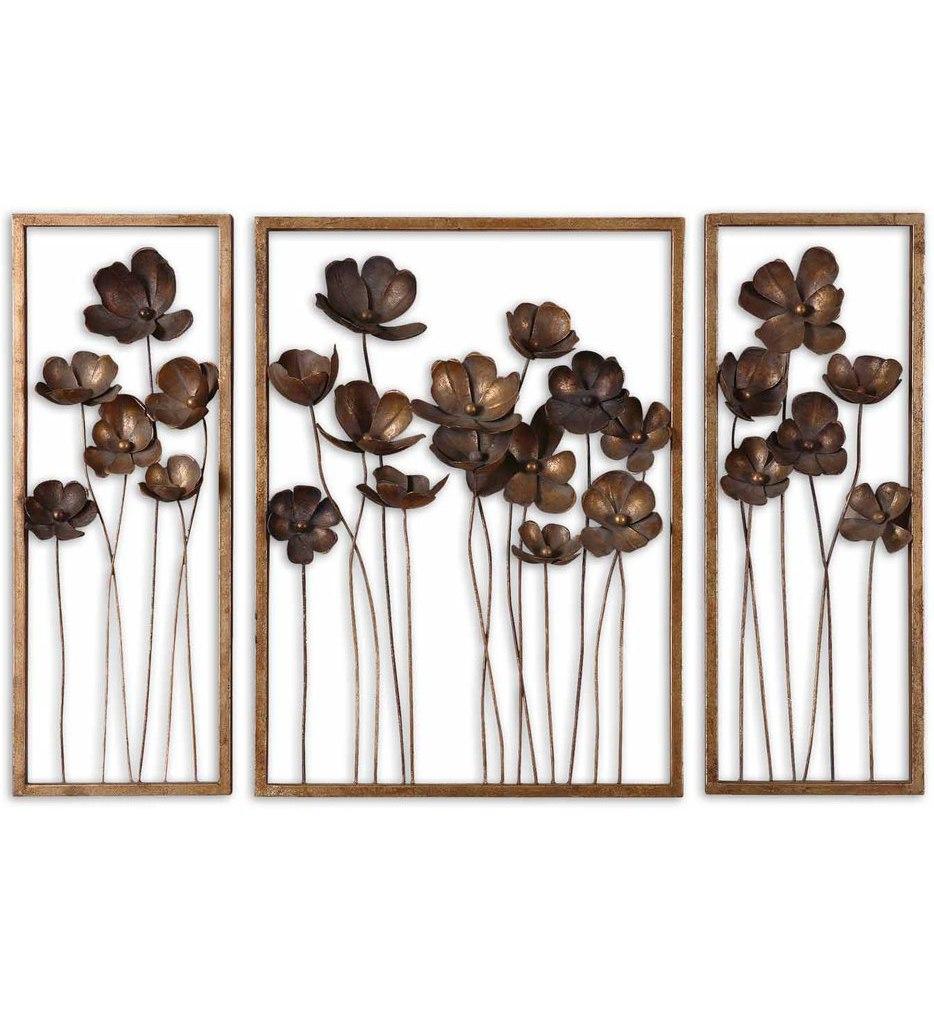 Metal Tulips Wall Art (Set of 3)