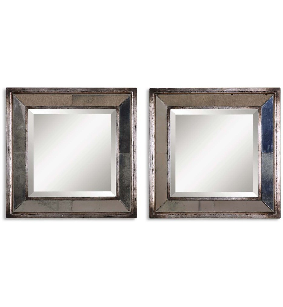 Davion Squares Silver Mirrors (Set of 2)