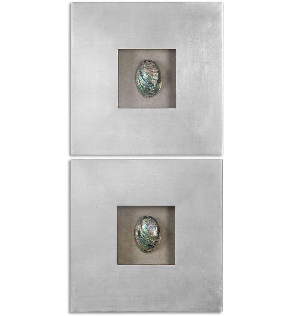 Abalone Shells Silver Wall Art (Set of 2)