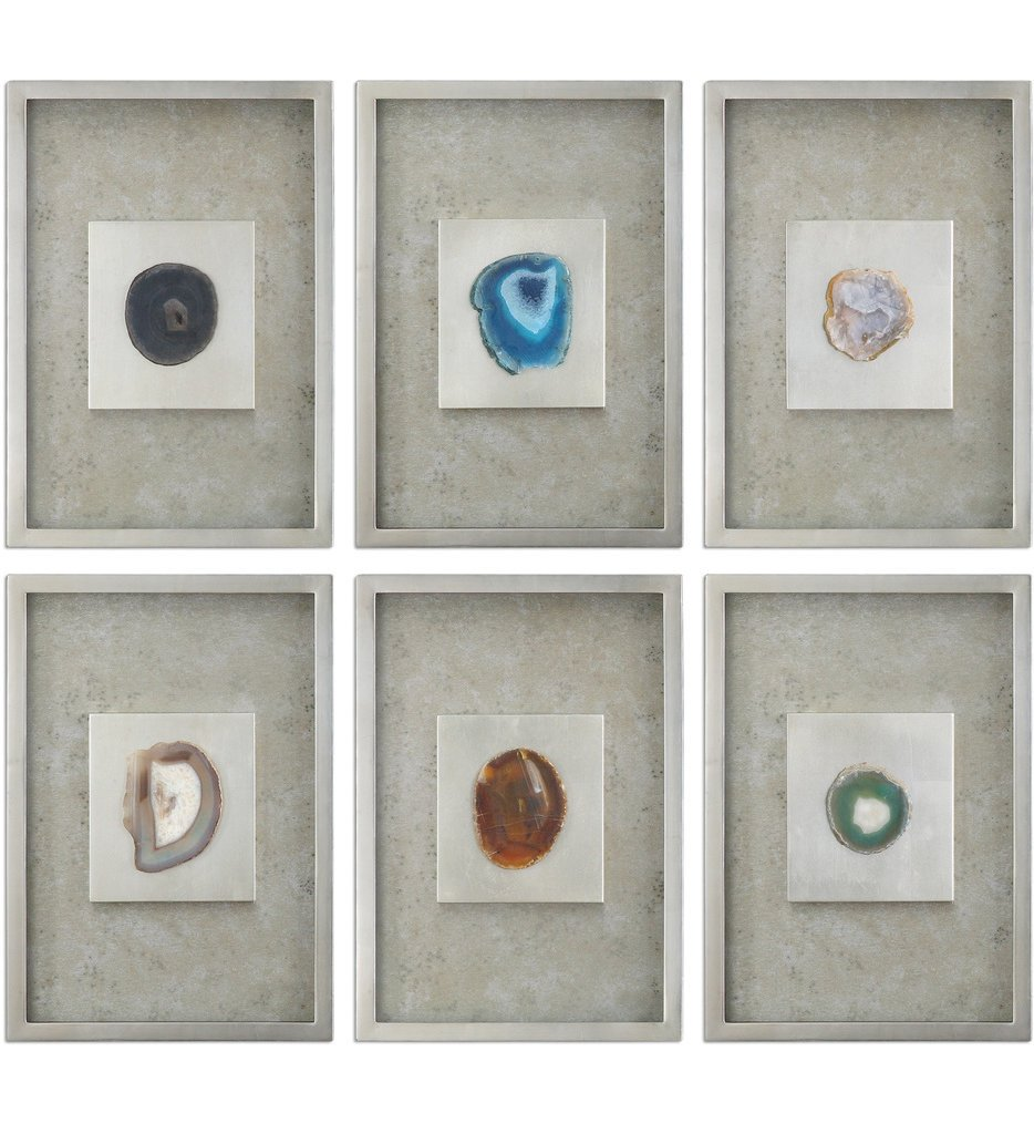 Agate Stone Silver Wall Art (Set of 6)