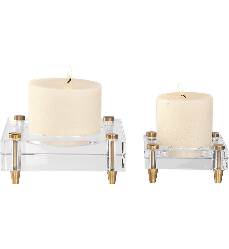 Claire Crystal Block Candleholders (Set of 2)