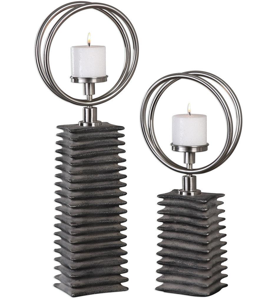 Eugenio Black Ceramic Candleholders, Set Of 2