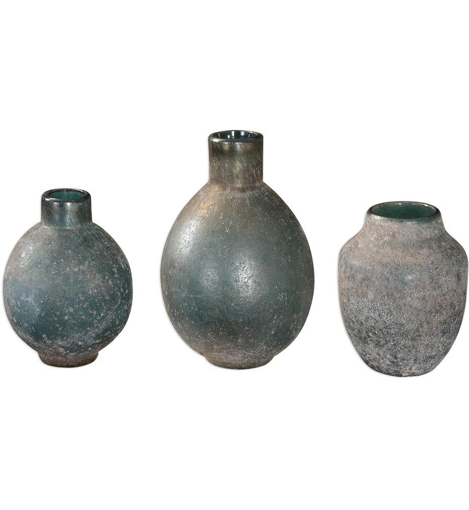 Mercede Weathered BlueGreen Vases (Set of 3)