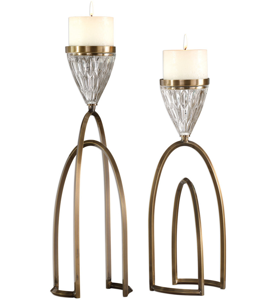 Carma Bronze & Crystal Candleholders (Set of 2)