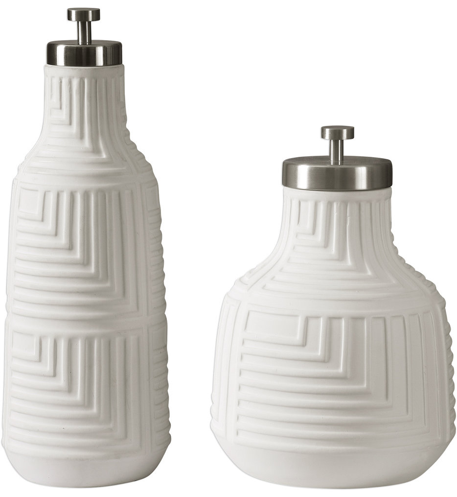 Chandran Matte White Containers (Set of 2)