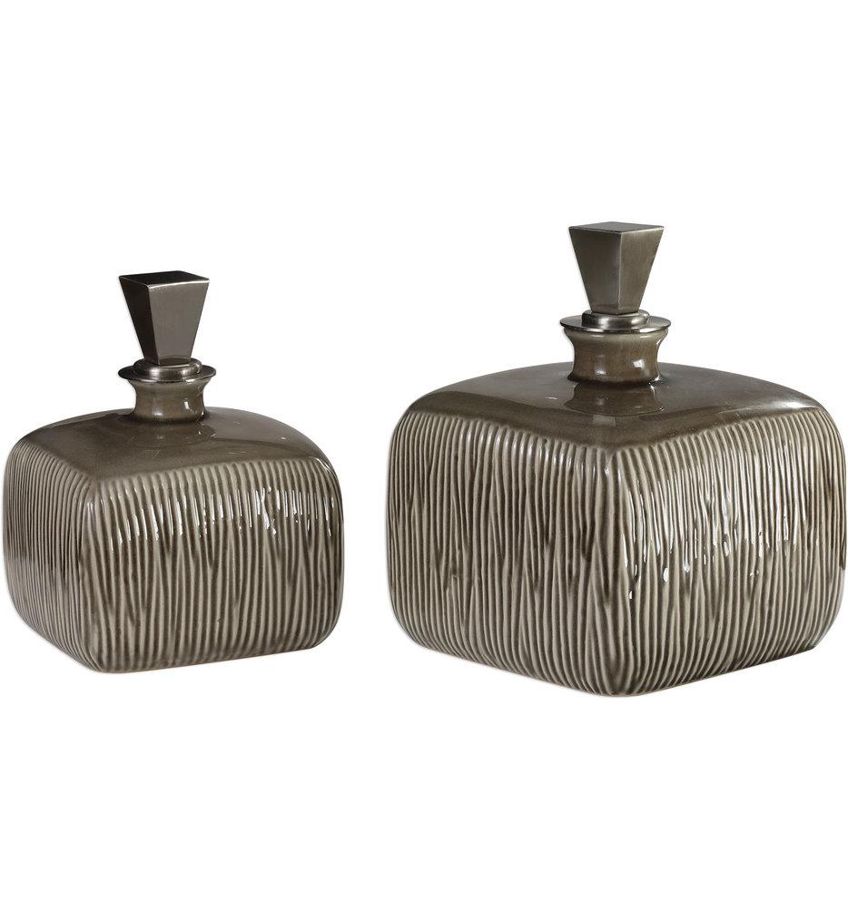 Cayson Ribbed Ceramic Bottles (Set of 2)