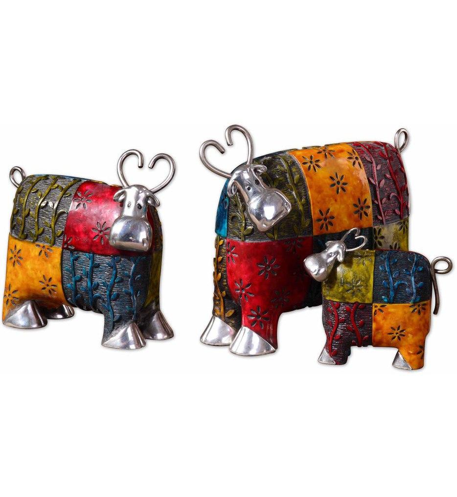 Colorful Cows Metal Figurines (Set of 3)