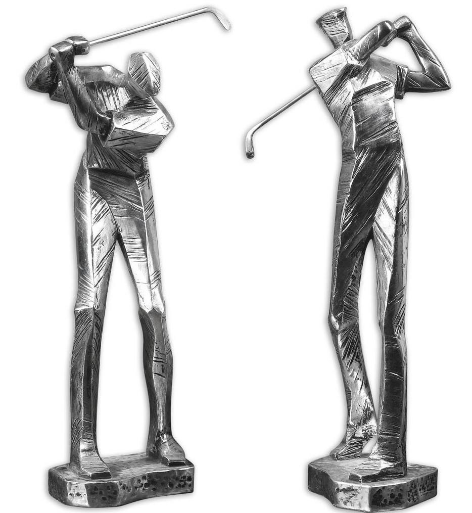 Practice Shot Metallic Statues (Set of 2)