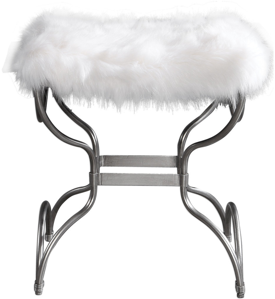 Channon White Fur Small Bench