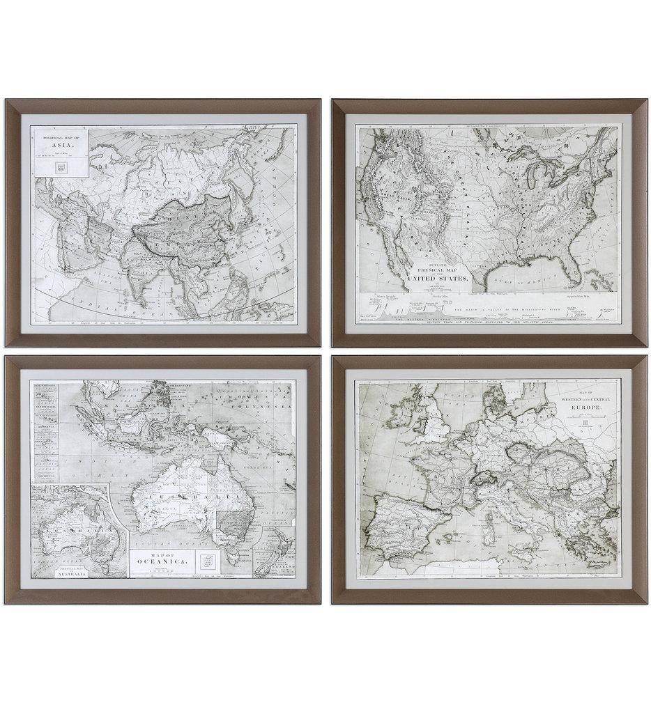 World Maps Framed Prints (Set of 4)