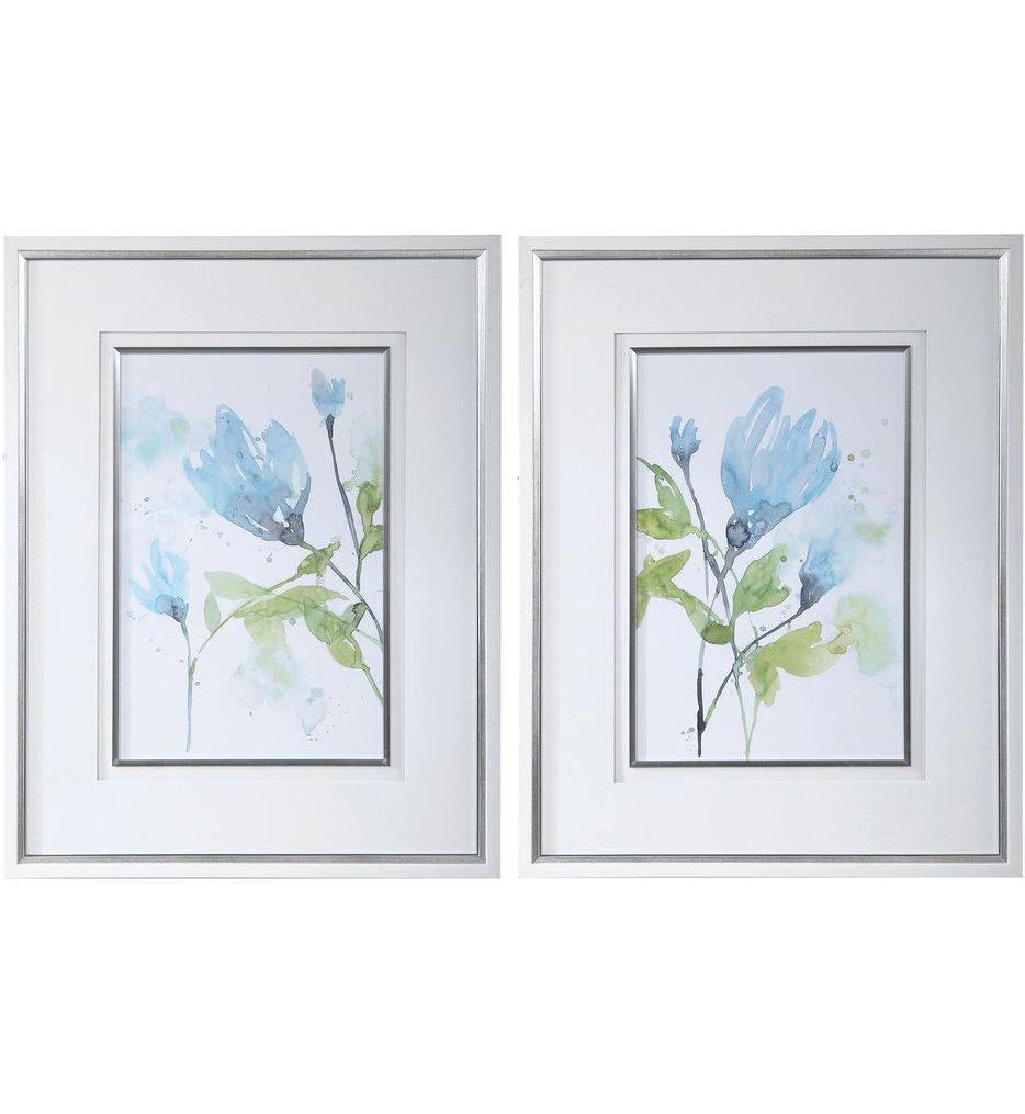 Cerulean Splash Floral Prints (Set of 2)