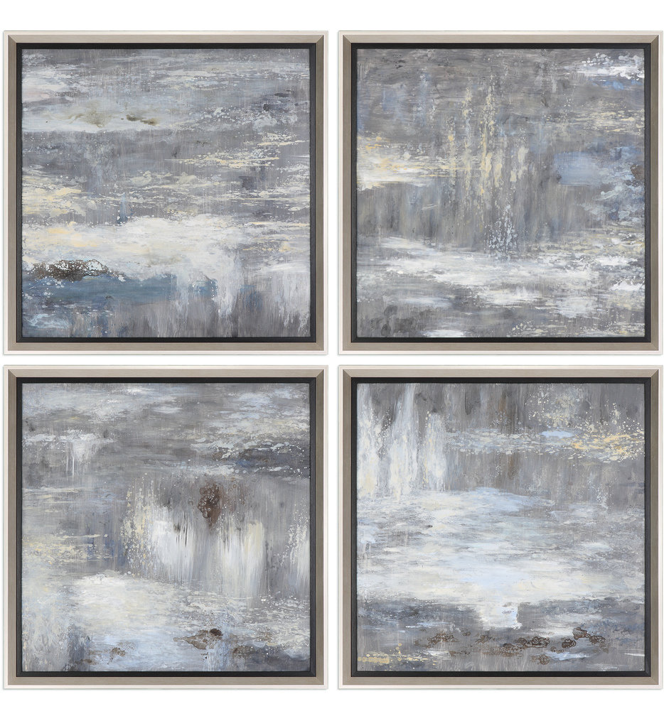 Shades Of Gray Hand Painted Art (Set of 4)