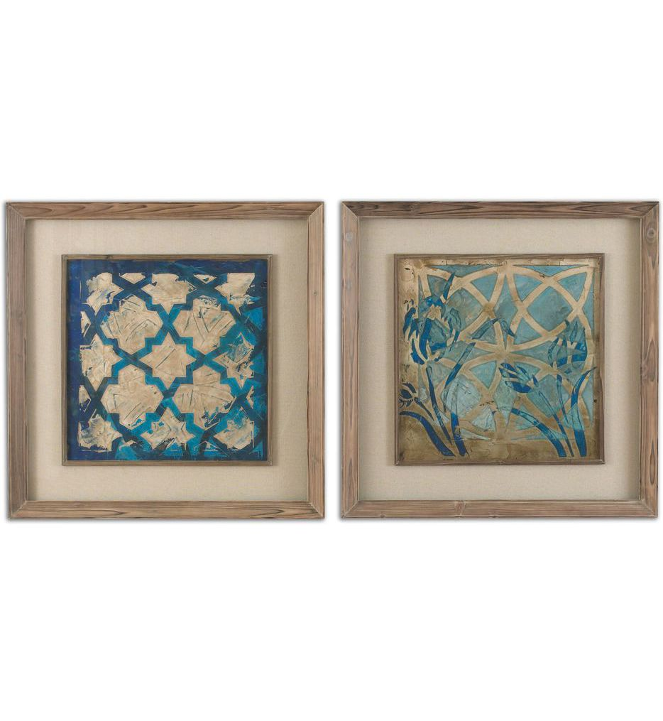 Stained Glass Indigo Art (Set of 2)