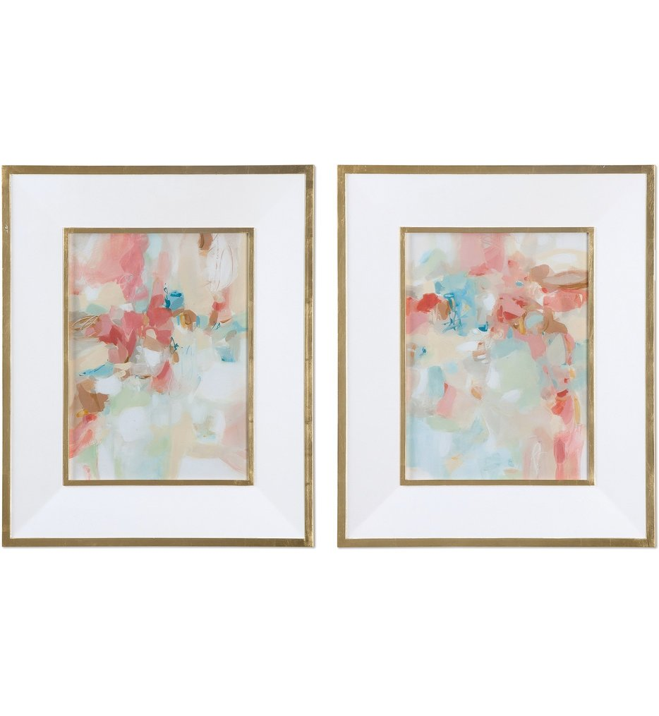 A Touch Of Blush & Rosewood Fences Art (Set of 2)