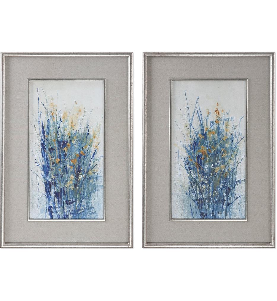 Indigo Florals Framed Art (Set of 2)