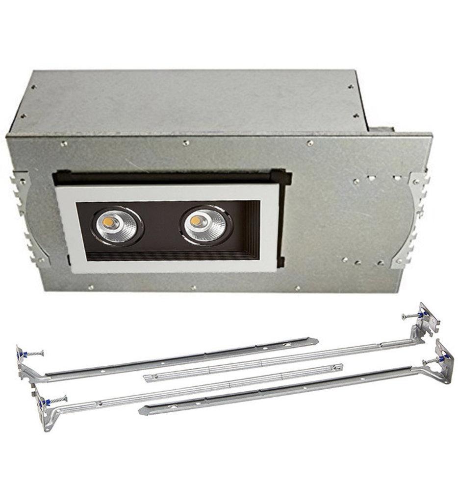Mini Multiples New Construction LED Wide Flood Beam 2 Light Multispot Complete Recessed Kit
