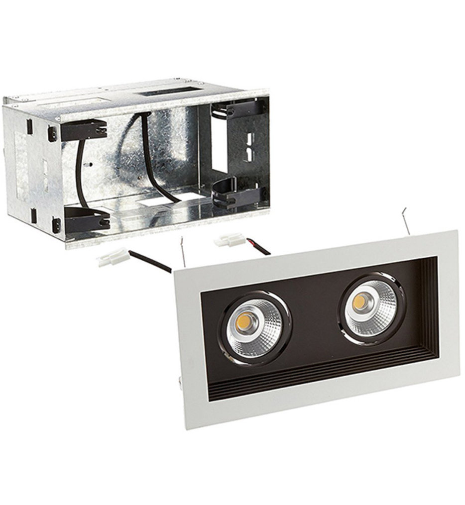 Mini Multiples Remodel LED Wide Flood Beam 2 Light Multispot Complete Recessed Kit
