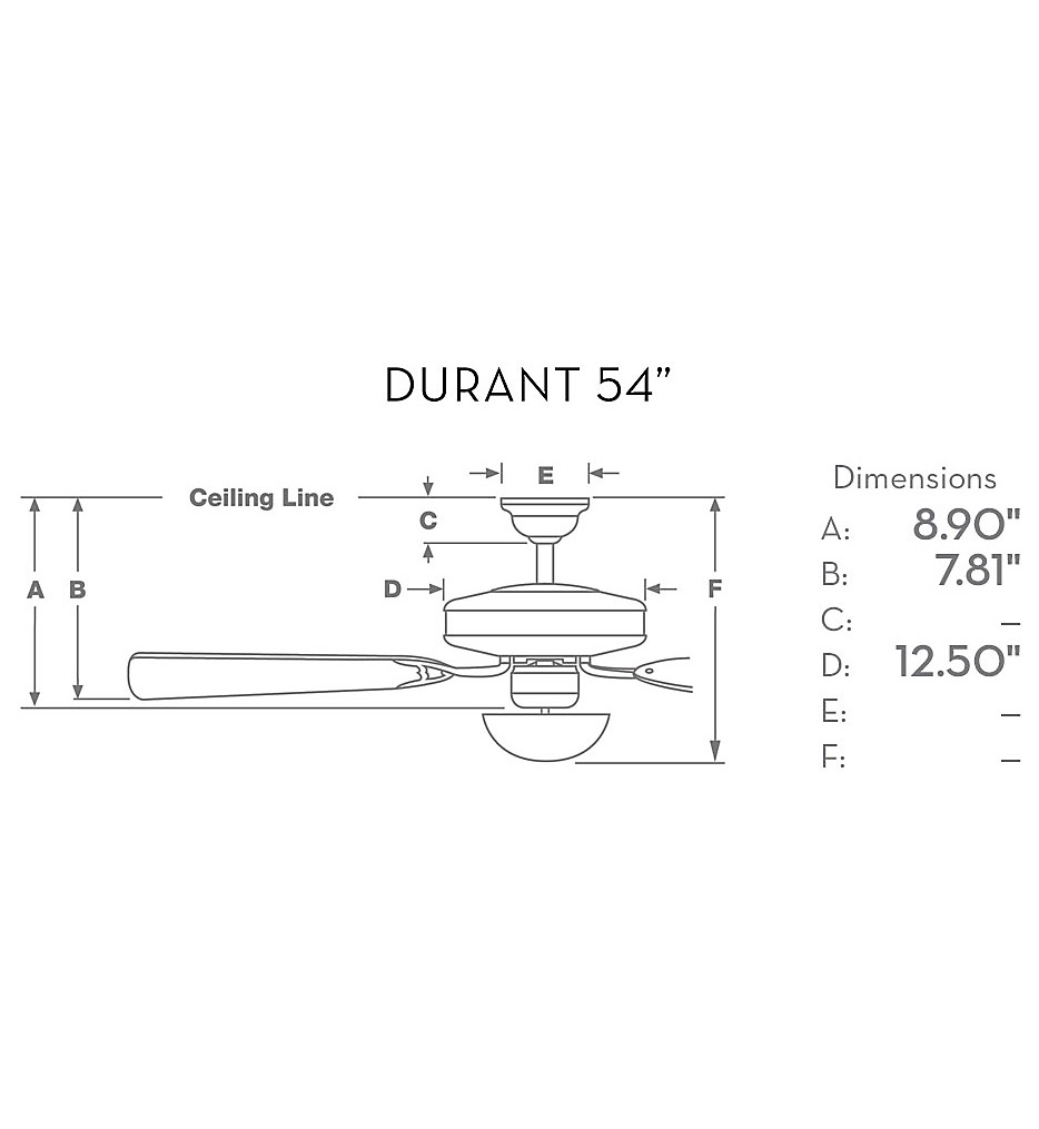 """Durant 54"""" Flush Mount Fan"""
