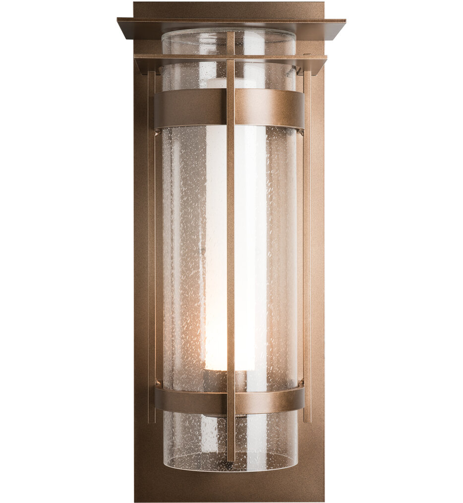 Banded Seeded Glass XL Outdoor Wall Sconce with Top Plate