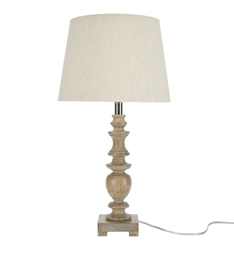 """Carved Natural Wood 24"""" Table Lamp"""