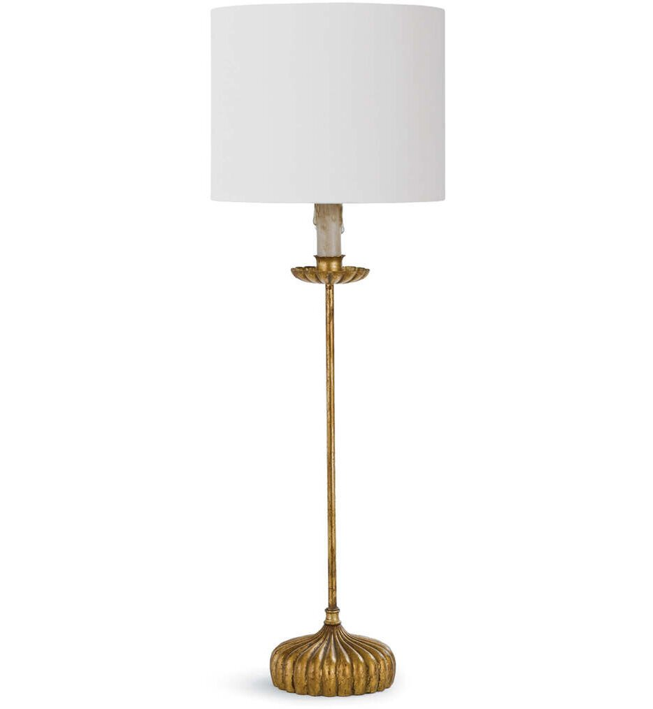 """Clove Stem With Natural Linen Shade 28.5"""" Table Lamp"""