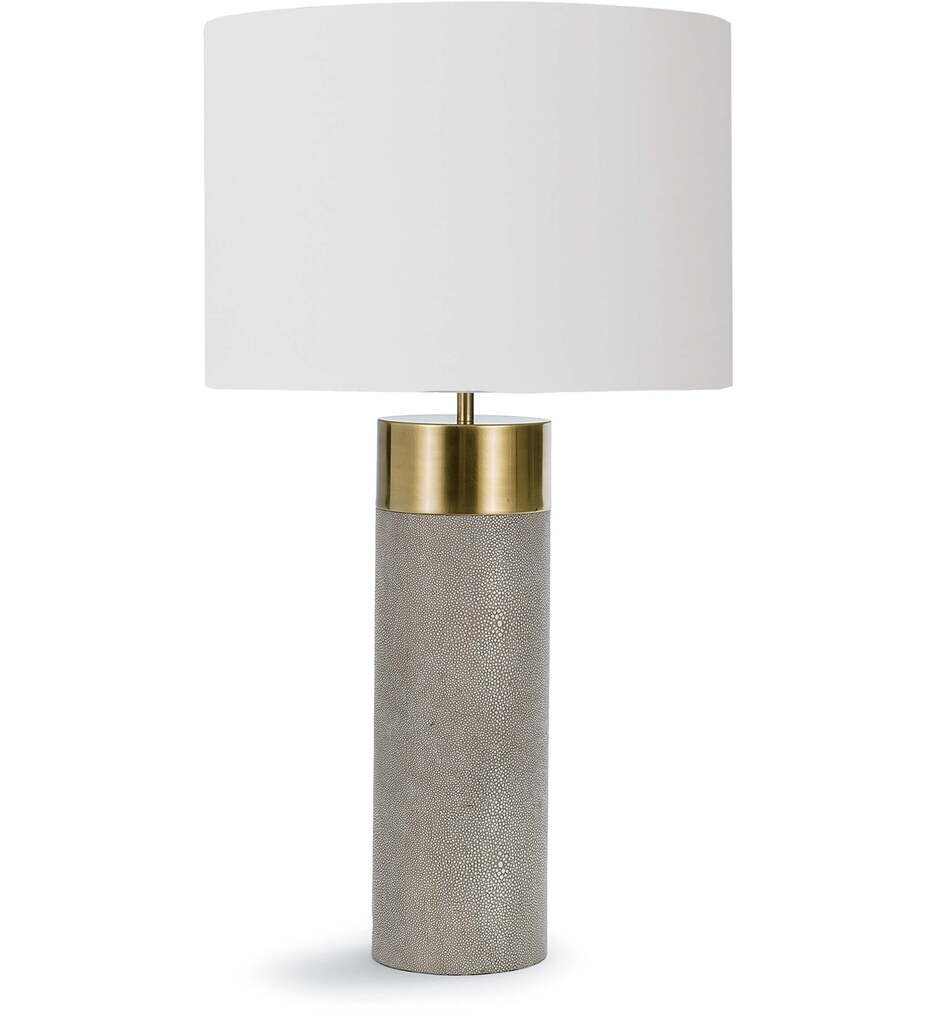 """Harlow Ivory Grey Shagreen Cylinder 27"""" Table Lamp"""