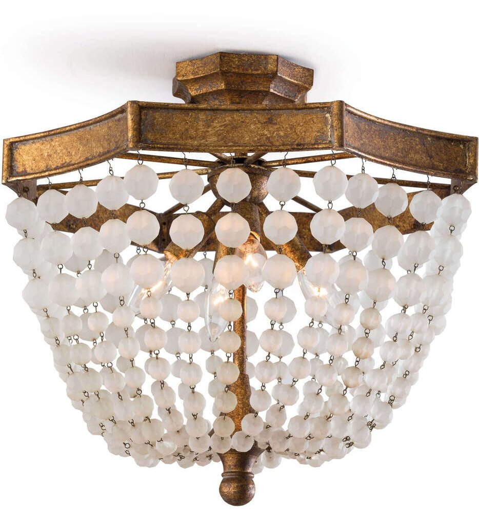 """Frosted Crystal 18"""" Flush Mount"""