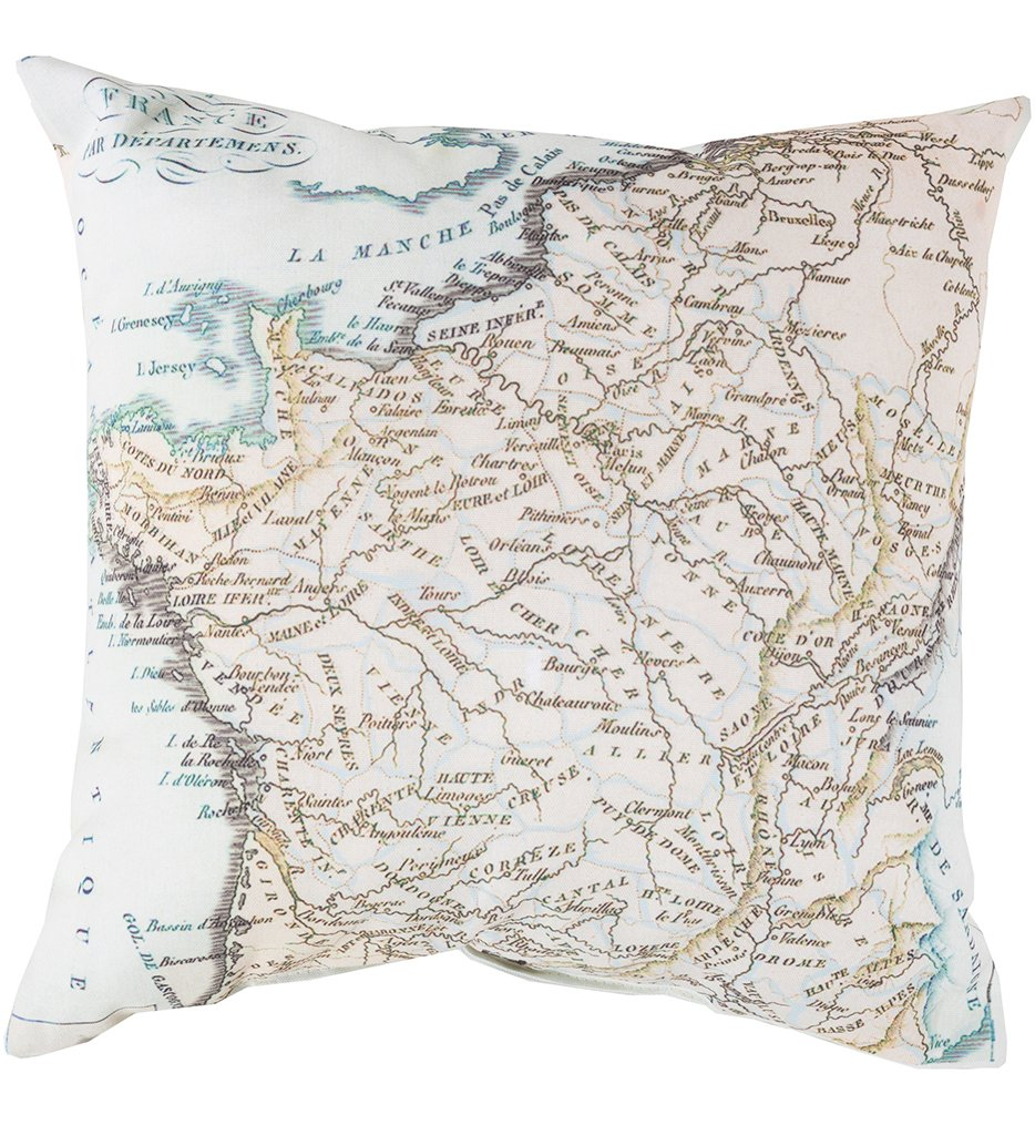 French Map Decorative Pillow