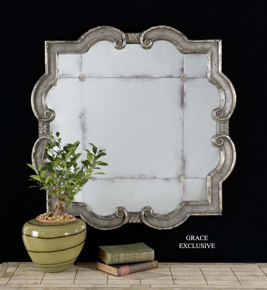 Prisca Distressed Silver Small Mirror